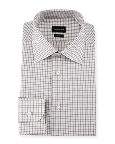 Box-Check Trofeo Dress Shirt, Brown