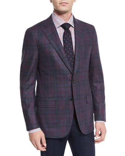 Large Plaid Wool Two-Button Jacket, Burgundy/blue