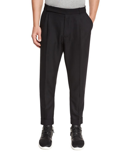 Pleated Wool Trousers, Black