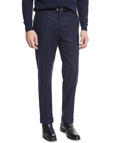 Flat-Front Flannel Trousers, Navy