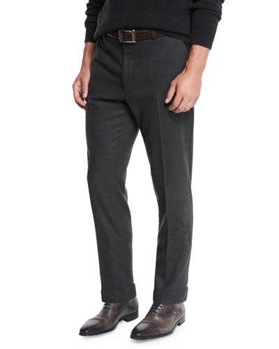 Flat-Front Flannel Trousers, Charcoal