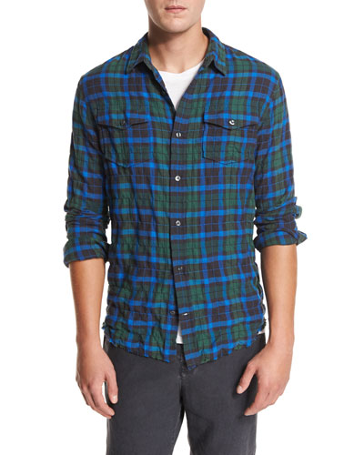 Frayed-Hem Plaid Western Shirt, Green/Blue