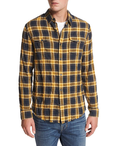Frayed-Edge Plaid Western Shirt, Blue/Yellow