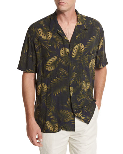 Leaf-Print Short-Sleeve Cabana Shirt, Navy