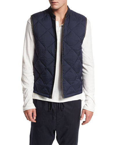 Down Quilted Liner Vest, Navy
