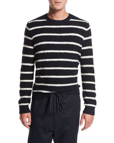 Textured Stripe Crewneck Sweater, Navy