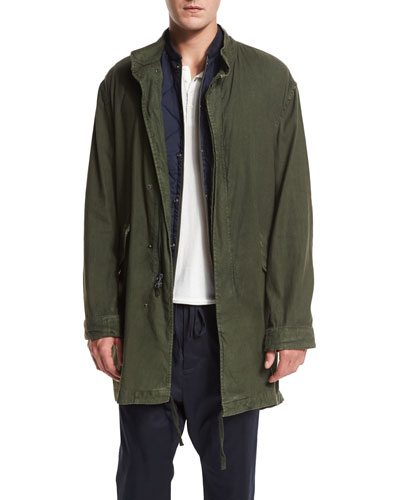 Canvas Utility Parka Jacket, Olive