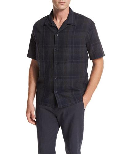 Plaid Short-Sleeve Cabana Shirt, Black