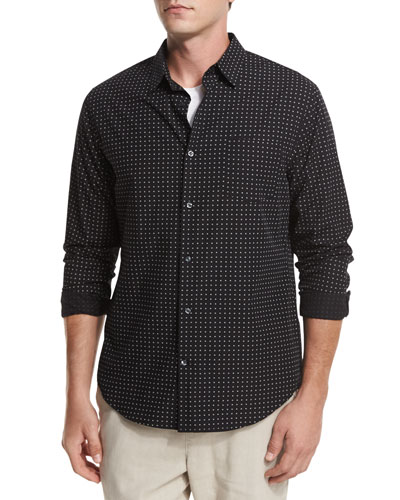 Dot-Print Woven Oxford Shirt, Black