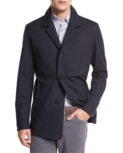 Wool Jersey Car Coat, Navy