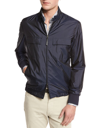 Silk Wind-Resistant Jacket, Navy