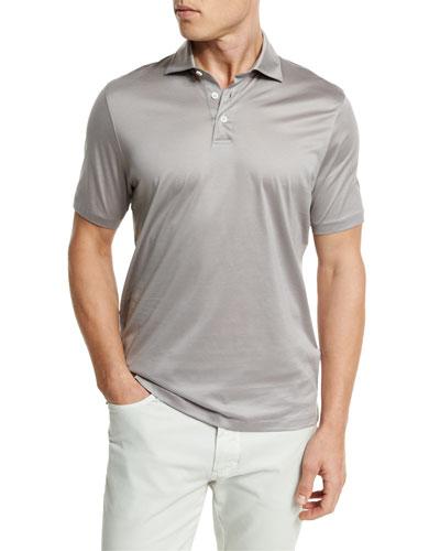 Mercerized Cotton Polo Shirt, Light Gray