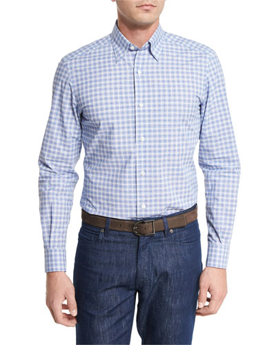 Concordia Plaid Jacquard Sport Shirt, Black