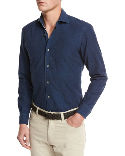 Japanese Denim Sport Shirt, Navy