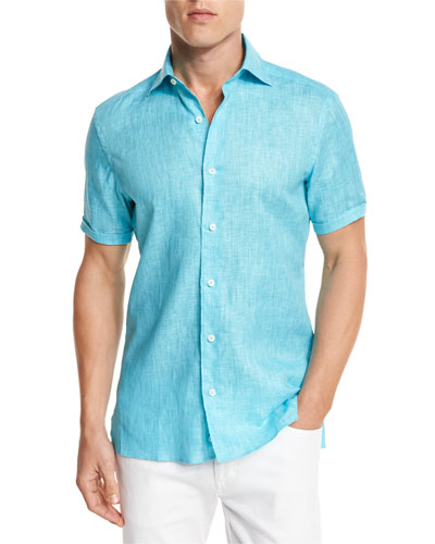 Over-Dyed Linen Short-Sleeve Sport Shirt, Aqua