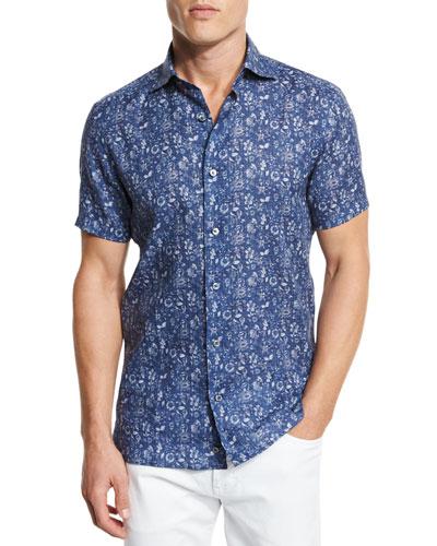 Floral Short-Sleeve Sport Shirt, Dark Blue