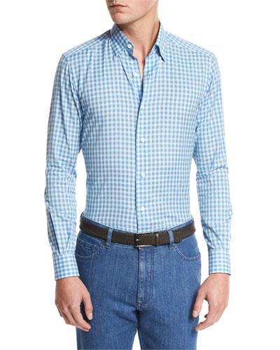 Small-Plaid Cotton-Linen Sport Shirt, Bright Blue