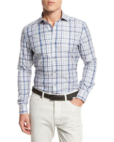 Large Check Sport Shirt, Dark Blue Check