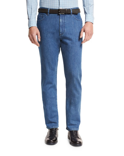 Japanese Denim Straight-Leg Jeans, Medium Blue
