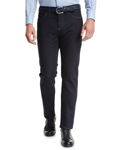 Luxe Denim Straight-Leg Jeans, Navy Solid