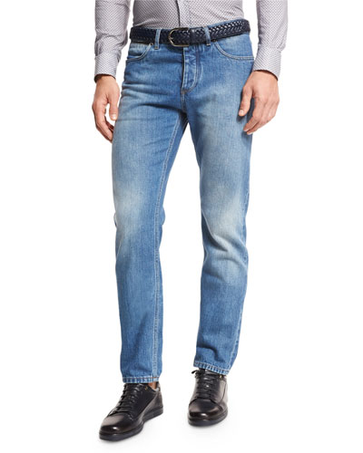Light Wash Luxe Denim Jeans, Blue