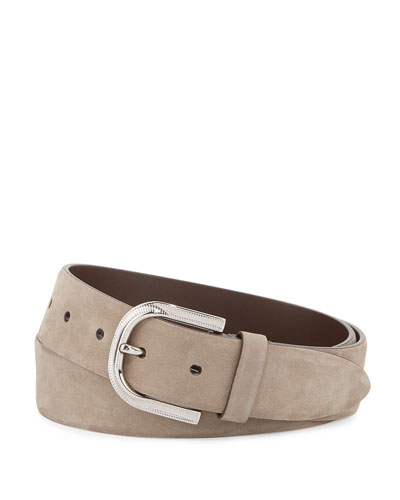 Calf Suede Buckle Belt, Taupe