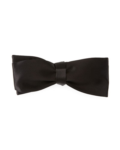 Self-Tie Satin Bow Tie, Black