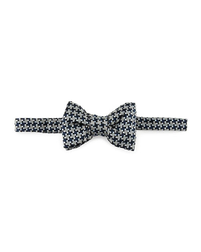 Large Houndstooth Bow Tie, Blue