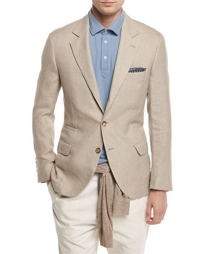 Linen-Wool-Silk Deconstructed Sport Jacket, Sand