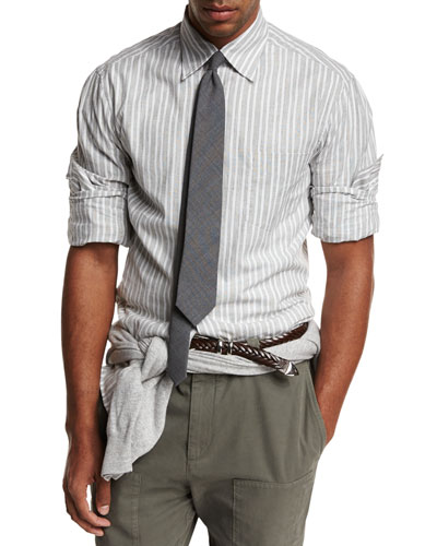 Striped Woven Oxford Shirt, Gray
