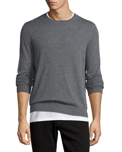 Featherweight Crewneck Sweater, Heather Cinder