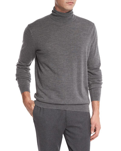 Featherweight Turtleneck Sweater, Heather Cinder