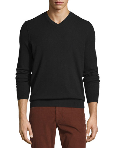 Cashmere Long-Sleeve V-Neck Sweater, Black