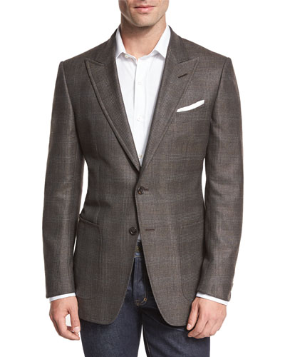 O'Connor Base Glen Plaid Two-Button Sport Coat, Brown