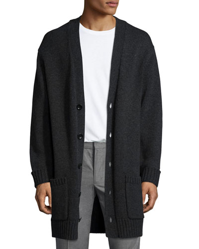 Long Heathered V-Neck Cardigan, Charcoal