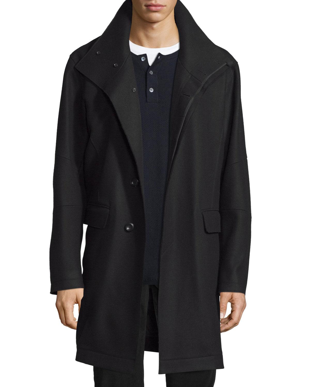 Raw-Edge Single-Breasted Military Coat, Black