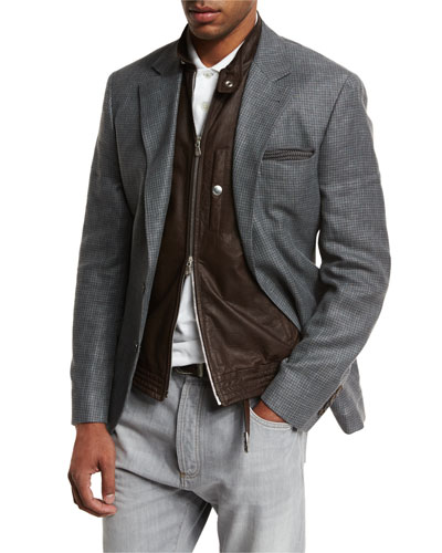 Three-Button Linen-Blend Check Sport Coat