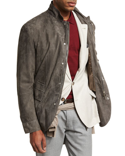 Lamb Suede Sport Jacket, Gray