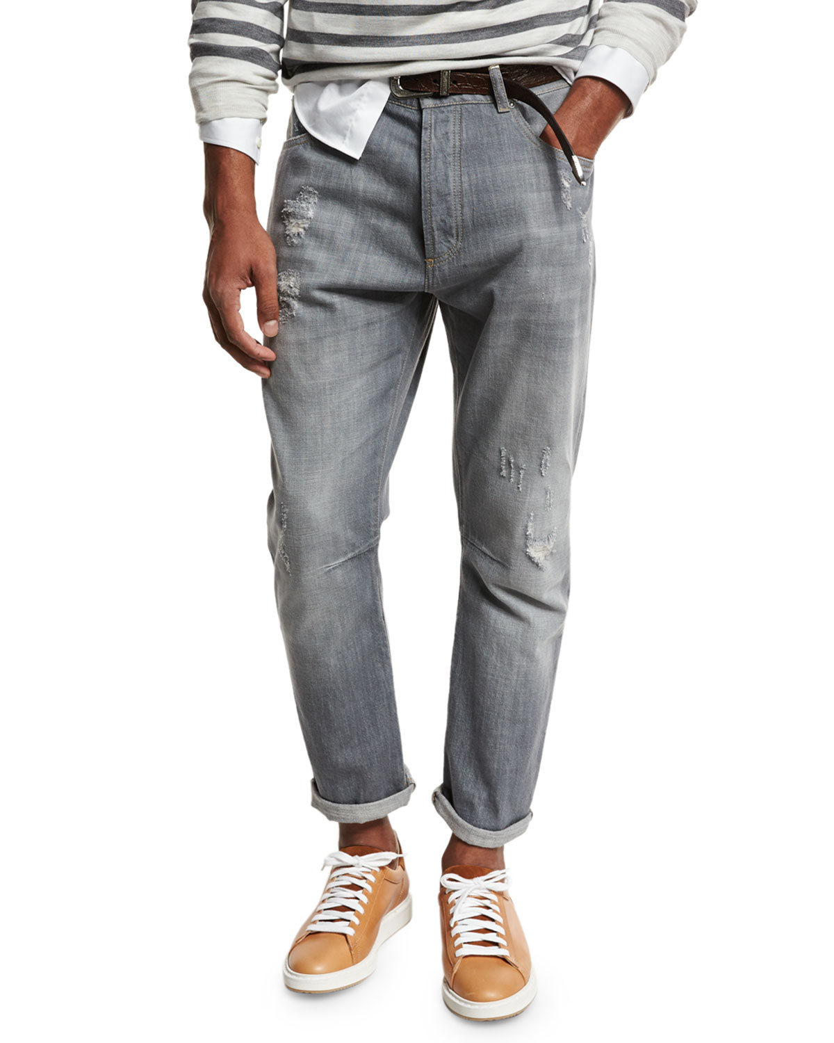 Leisure-Fit Distressed Denim Jeans, Gray