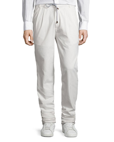 Cotton Drawstring Double-Pleated Pants, Light Beige
