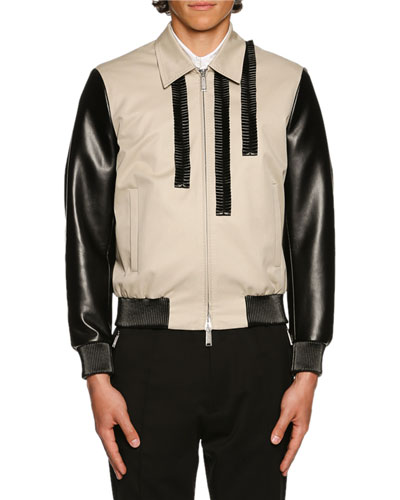 Coated Bomber Jacket w/Ruched Trim, Stone