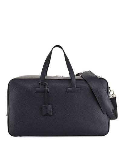 T Line Men's Grained Leather Weekender Bag, Navy Blue