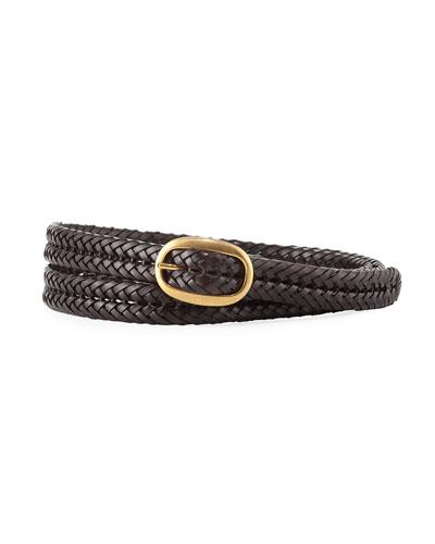 Men's Woven Calf Leather Belt, Brown