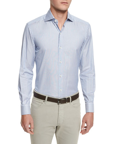Striped Long-Sleeve Sport Shirt, Blue