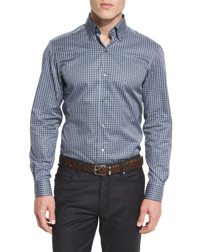 Check Long-Sleeve Sport Shirt, Gray/Blue
