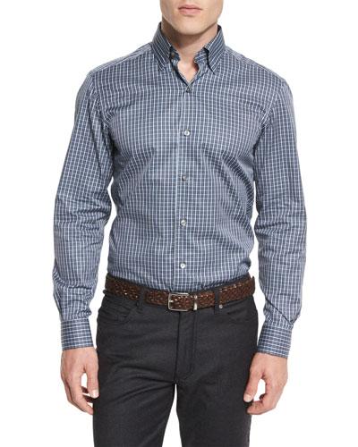 Check Long-Sleeve Sport Shirt, Gray/Blue