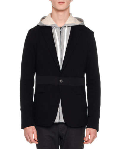Mixed-Media Jersey Blazer, Black
