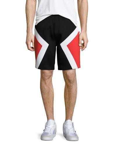 Colorblock Neoprene Shorts, Black/Red/White