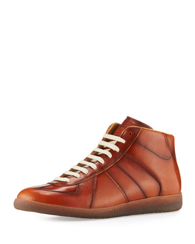 Men's Replica Leather Mid-Top Sneaker, Brown