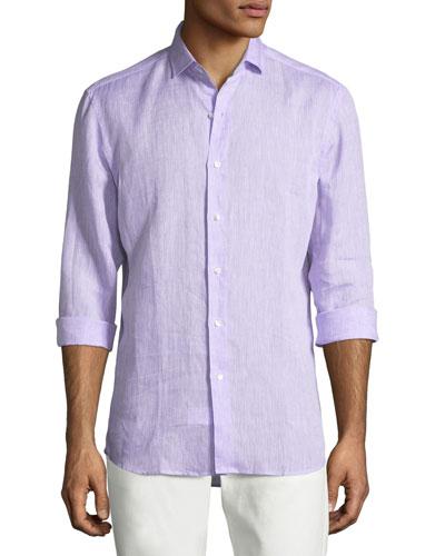 Solid Linen Button-Down Shirt, Lavender